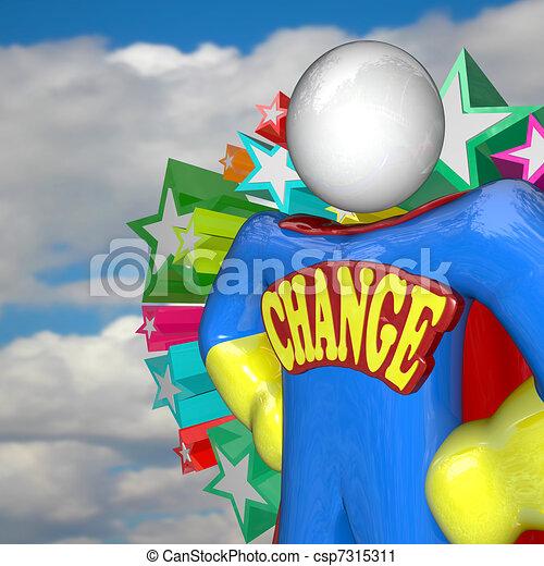 Change Superhero Looks to Future of Changing and Adapting - csp7315311
