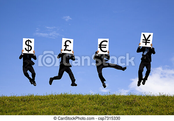 businessman jumping  and holding 4 different currency signs. dollor, pond, euro, yen - csp7315330