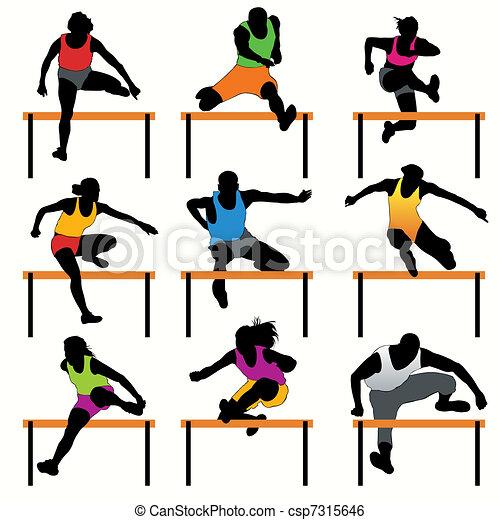 Hurdles athletes silhouettes set - csp7315646