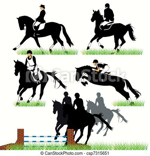 Jockeys and horses silhouettes - csp7315651