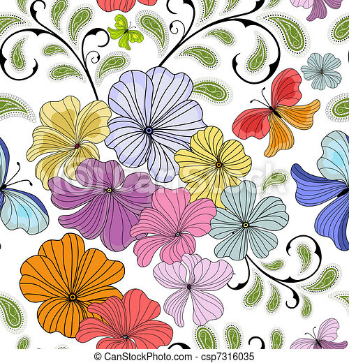 White repeating floral pattern - csp7316035