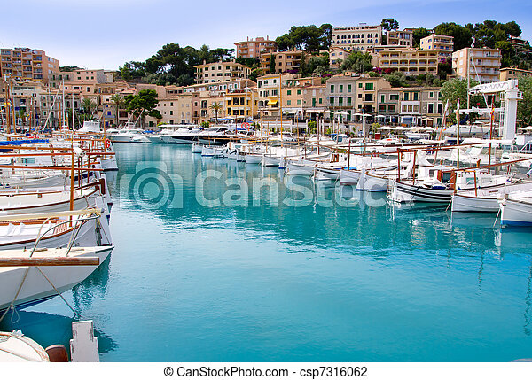 Puerto de Soller Port of Mallorca with lllaut boats - csp7316062