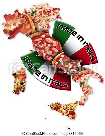 Illustration of Pizza made in Italy - Italian territory with pizza ...