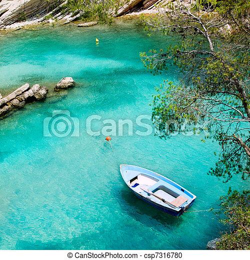 Calvia Cala Fornells turquoise mediterranean in Majorca - csp7316780