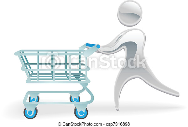 Metallic character shopping cart trolly concept - csp7316898