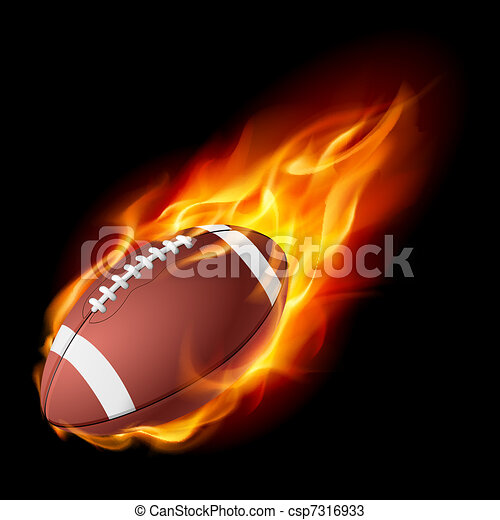 Realistic American football in the fire - csp7316933