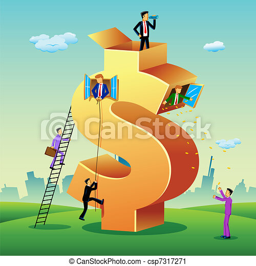 Business People with Dollar Building - csp7317271