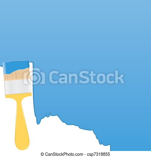 Vector blue background with yellow paintbrush  - csp7318855