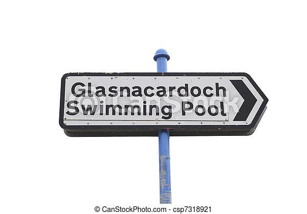 Swimmingpool roadsign - csp7318921