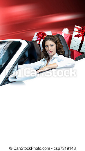 young woman, shopping , driving convertible car , gift box - csp7319143
