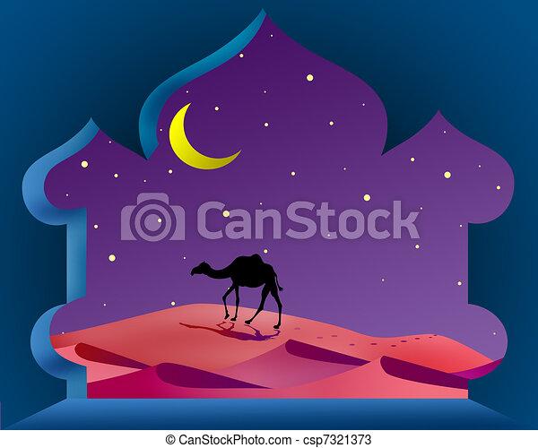 Magic arabian night with camel - csp7321373