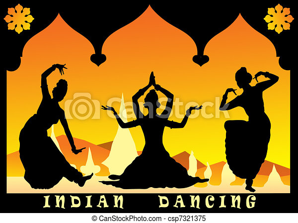 Stock Illustrations of indian dancing - three indian ...