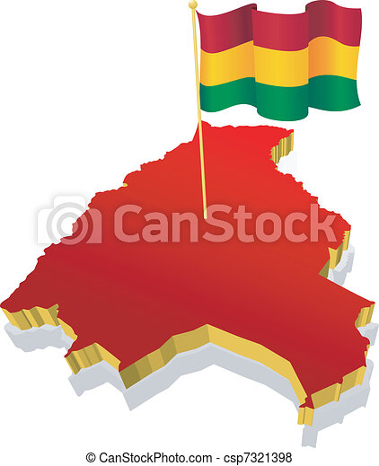 Three-dimensional image map of  Bolivia with the national flag - csp7321398