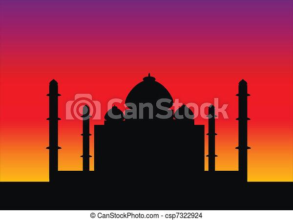 Taj Mahal at sunset - csp7322924