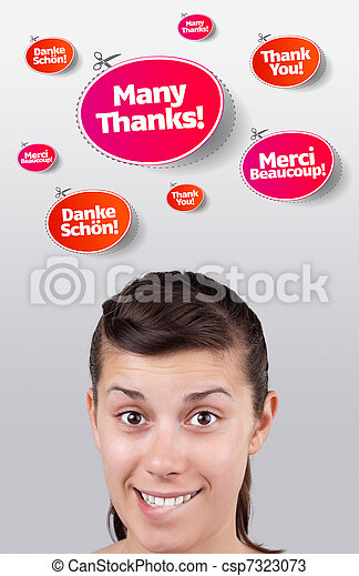 Young girl looking at recreational signs - csp7323073