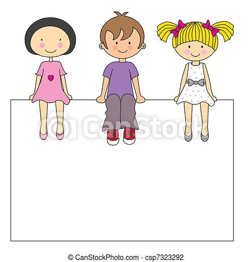 Kinder sitzen im kreis clipart  Vektor Illustration von auf, hochklettern, kinder, bleistift ...