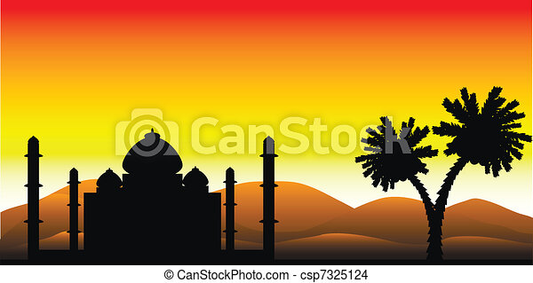 The silhouette of a mosque in the desert - csp7325124