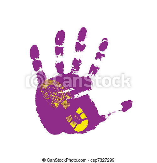 Print of a human boot and hand - csp7327299