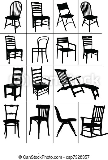 Big set of home chair silhouettes. - csp7328357