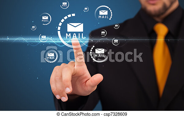 Businessman pressing virtual messaging type of icons - csp7328609