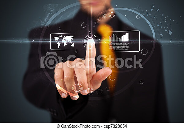 Businessman pressing high tech type of modern buttons - csp7328654