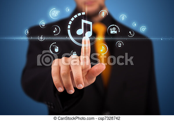 Businessman pressing virtual media type of buttons  - csp7328742