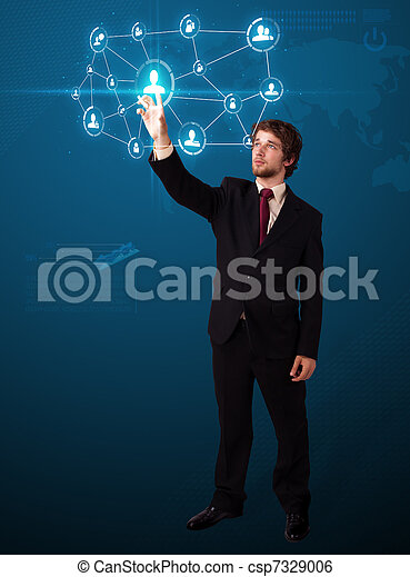 Businessman pressing modern social type of icons - csp7329006