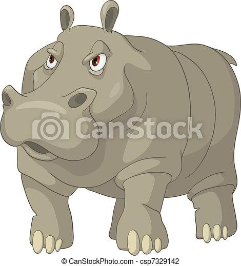 Cartoon Character Hippopotamus - csp7329142