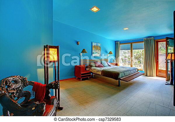 Stock foto 39 s van blauwe aziaat moderne retro slaapkamer blauwe groot csp7329583 - Stijl asiatique ...
