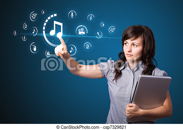 Businesswoman pressing virtual media type of buttons - csp7329821
