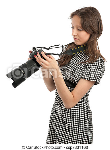 young beautiful girl with the camera - csp7331168