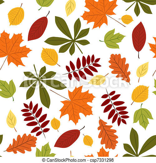 Seamless with autumn leaves - csp7331298