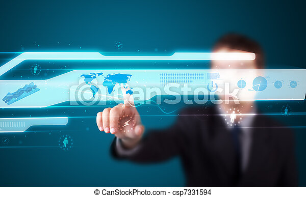 Businessman pressing high tech type of modern buttons - csp7331594