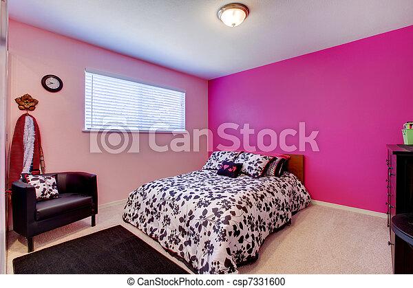 Photo filles chambre coucher rose noir blanc image images photo libre de droits for Chambre a coucher rose fushia