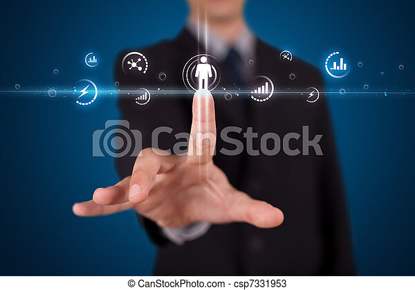 Businessman pressing modern social type of icons - csp7331953