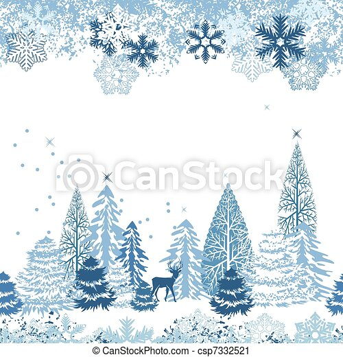 Beautiful seamless blue pattern with winter forest - csp7332521