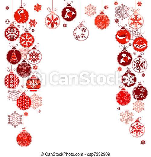 bolas, quadro, em branco, contorno, penduradas, natal - csp7332909