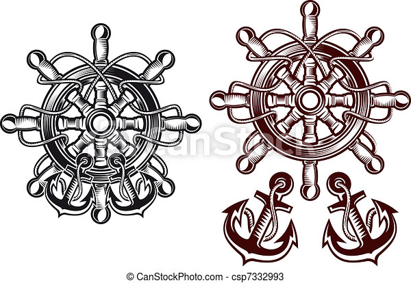 Anchor Wheel Drawing Ship Steering Wheel With