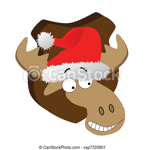 Deer with Santa Claus hat - csp7333901