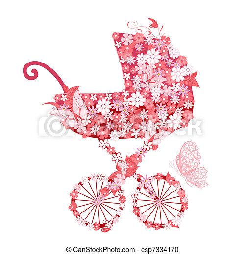 Clipart vecteur de fleurs filles poussette poussette - Poussette dessin ...