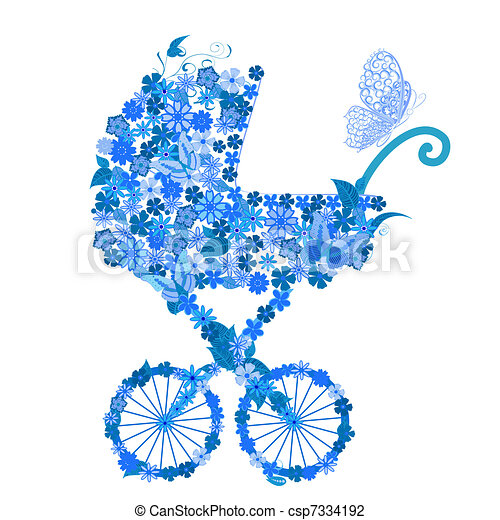 Stroller of flowers for a boy - csp7334192