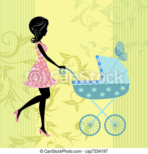 woman with a pram - csp7334197