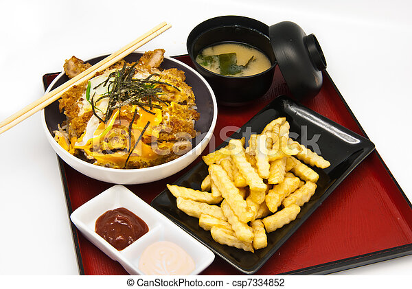Stock Photo of Bento, Japanese food style , fried chicken and rice and ...