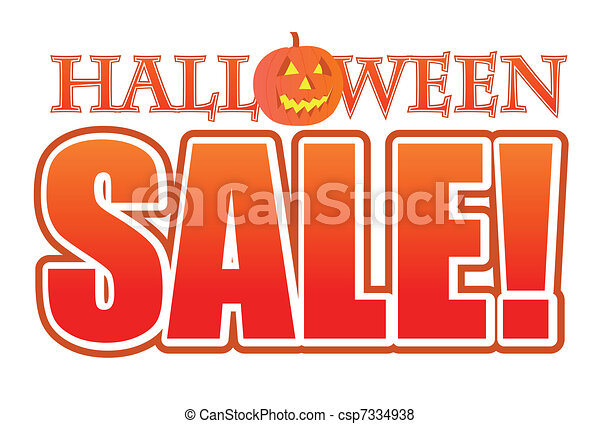Halloween pumpkin sale sign  - csp7334938