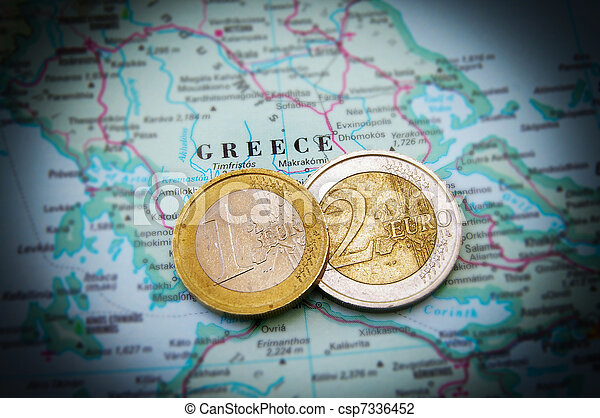 Euro coins on a map of Greece (Greek financial crisis) - csp7336452