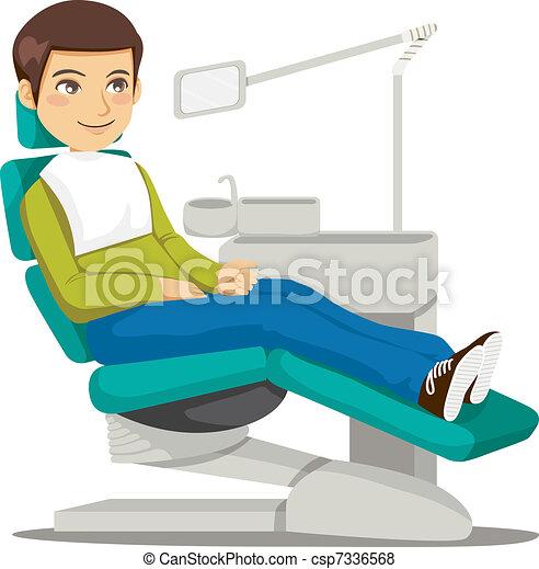 Vector de dentista young hombre que sienta en el for Silla odontologica