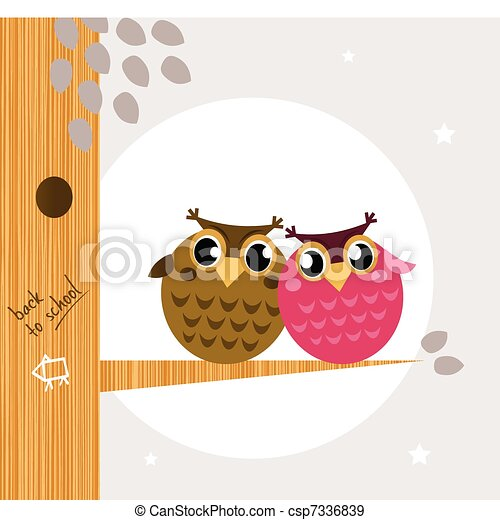 Two cute owl friends sitting on the branch  - csp7336839