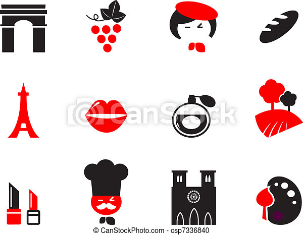 Icons set and design elements with French and Paris themes. Vector cartoon.  - csp7336840