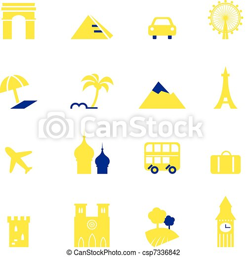 Travel, vacation & landmarks icons collection isolated on white - csp7336842