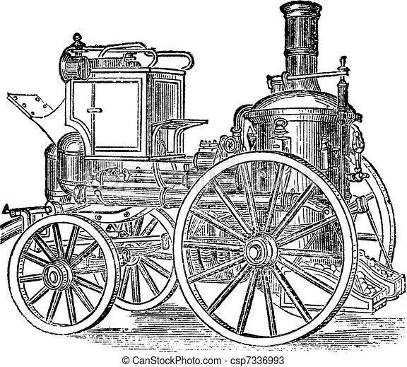 Steam Fire Engine, vintage engraving - csp7336993